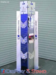 Mərkəzdə reklam və texnologiyalar üçün metaldan hazırlanan divar vitrinləri N1070
