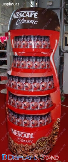 Mərkəzdə qida məhsulları üçün laminatdan hazırlanmış dispenser məhsul stendi N1185