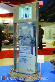 Стенд напольный для промоакции N1123 из профильной трубы для рекламы в центр