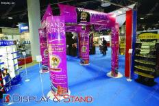 Стенд напольный для промоакции N1143 из профильной трубы для рекламы в центр