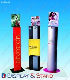 Стенд напольный для промо-акций N116 из пластика для продуктов питания косметики и промо товаров пристенный и в центр