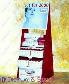 Торговая стойка N72 из профильной трубы для косметики и рекламы пристенный и в центр