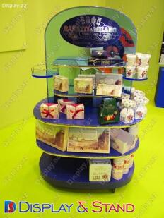 Стенд напольный N812 из стекла для продуктов питания косметики и сладостей в центр