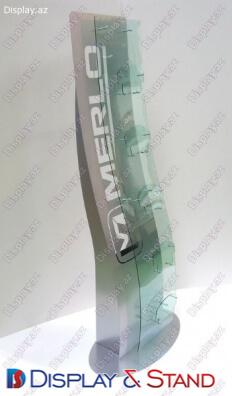 Стенд напольный для промоакции N849 из пластика для промо товаров в центр