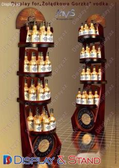 Прилавок для товара N998 из профильной трубы для косметики и выпивки в центр